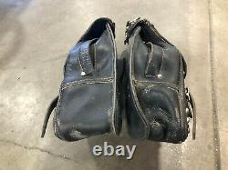 Harley Saddle Bags Black Leather Shovelhead Evo FL FLH FXR FXS FXE Panhead Evo